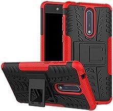 جرابات مناسبة - جرابات هاتف لـ 8 جراب واقٍ لهاتف 1 2 3 5 X5 6 6X 7 X7 7. 1 Plus PC + TPU طبقة مزدوجة شديدة التحمل ومضادة للصدمات (أحمر لهاتف نوكيا X7)
