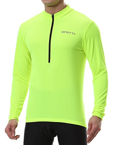 Spotti Men's Cycling Bike Jersey Long Sleeve with 3 Rear Pockets - Moisture Wicking, Breathable, Quick Dry Biking Shirt (Hi-viz Yellow, Chest 40-42' - Large)