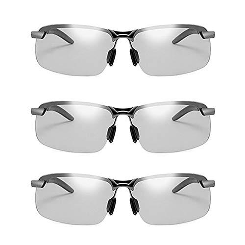 JTeam Gafas De Sol Polarizadas For Hombre 3 Pares Lentes Fotocrómicas Gafas Deportivas Conducción Y Ciclismo (Color : Gun metal)