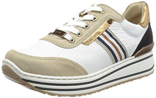 ARA Damen Sapporo Sneaker, Sand/Weiss,Whisky/BLAU, 37.5 EU