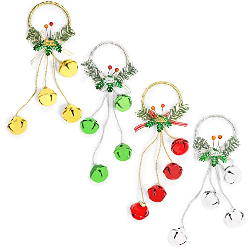 Farmlyn Creek Hanging Jingle Bells for Christmas Décor (14.43 Inches, 4 Pack)