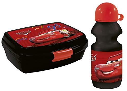 Disney Cars Mc Queen 2 TLG. Set Trinkflasche + Brotdose Brotbüchse Lunchbox Vesperbox Schule Kindergarten