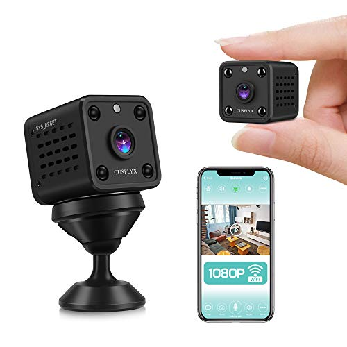 [ 2021 Upgrade ] Cámaras Espía- CUSFLYX 1080P WIFI Full HD Mini Cámara Vigilancia Niñera Mascotas Deportes Garaje IR Visión Nocturna 150ºGran Angular Detección de Movimiento Video Remoto Android y IOS