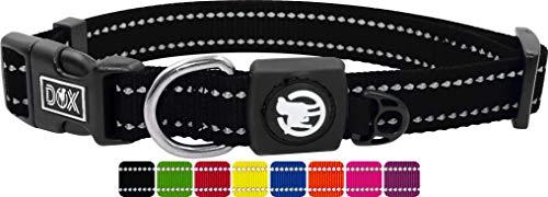 DDOXX Hundehalsband Nylon, reflektierend, verstellbar | für kleine & große Hunde | Halsband Hund Katze Welpe | Hunde-Halsbänder groß breit | Katzen-Halsband Welpen-Halsband klein | Schwarz, L