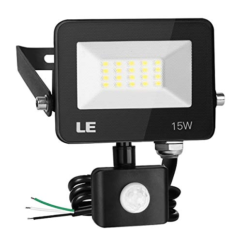 LE 15W LED Security Lights Motion Sensor Light Outdoor, Waterproof Flood Light with Photocell, 1300lm Daylight White 5000K, ETL Listed Eave/Wall Mounted Floodlight for Backyard, Driveway, Garage, Yard