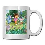 Lsjuee Do_Ra The Ex_Plorer Taza de cerámica de café con impresión 3d Taza de animal lindo Taza de té de dibujos animados Fiesta de cumpleaños Oficina Mañana para té