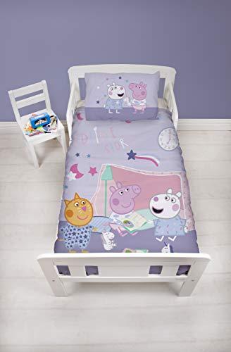 Peppa Pig Officiële Junior Peuter Kinderbedje Dekbedovertrek | Paars Slaapzak Ontwerp | Kinderbeddengoed Set & Kussensloop, Roze