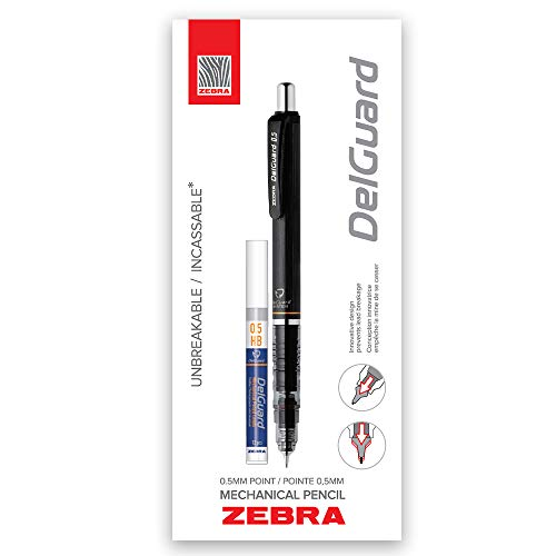 Zebra DelGuard Mechanical Pencil with Bonus Lead Refill, Fine Point, 0.5mm Point Size, Standard #2 HB Lead, Black Barrel, 1-Count