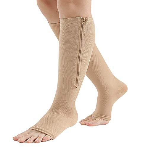 Bacophy 2 Pairs Zipper Compression Calf Socks 15-20 mmHg Open Toe Women Men