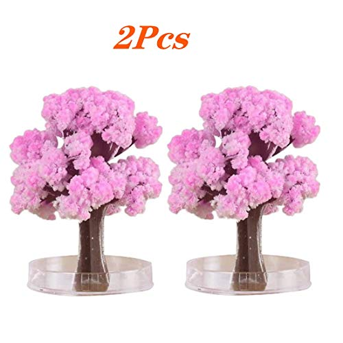 Zuuics Pink Magic Growing Crystal Christmas Tree, Kids DIY Felt Magic Growing Kids Funny Educational and Party Toys Tree/Xmas Ornaments/Wall Hanging Gifts for Kids Funny Educational/Party Toys (2Pcs)