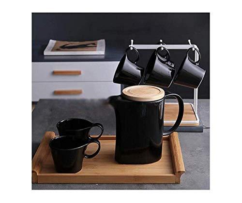 Juego de sake japonés, exquisito juego de té nórdico / taza de café Juego de tazas de cerámica Sala de estar en el hogar Oficina simple Clásico en blanco y negro con bandejas y estantes para el hogar
