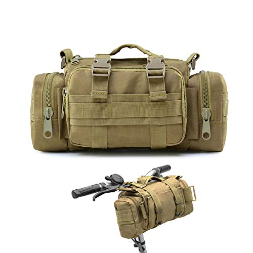 BraveHawk OUTDOORS Bike Handlebar Bag, 900D Nylon Oxford Multi-Purpose Tactical Waist Bag Heavy-Duty Water Resistant MOLLE Outdoor Bicycle Pack for Cycling Hiking (Khaki)