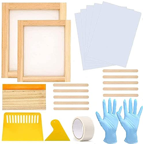 22 Pieces Screen Printing Starter Kit, MQ Two Different Size Of Wood Silk Screen Printing Frame With 110 Mesh Screen Printing Squeegees Gloves Inkjet Transparency Film Mask Tape