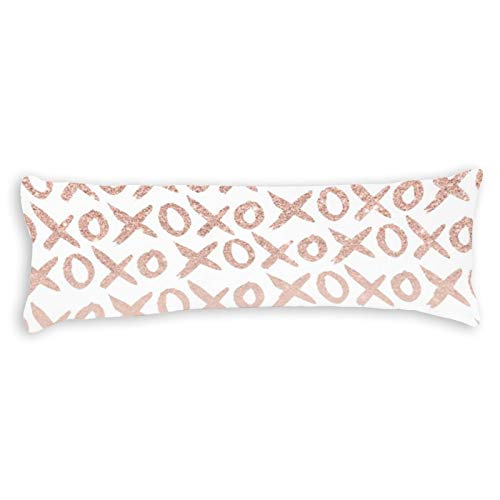 Modern Rose Gold Blush Pink Love XOXO Typography Ultra Soft Microfiber Long Body Pillow Cover Pillowcases with Hidden Zipper Closure for Kids Adults Pregnant Women, 20' x 54'