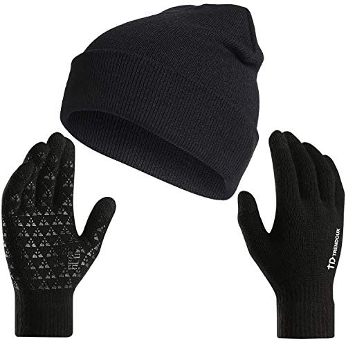 TRENDOUX Hat and Gloves Set for Women Men Winter Gloves Beanie Stretchy Soft in Cold Weather product image
