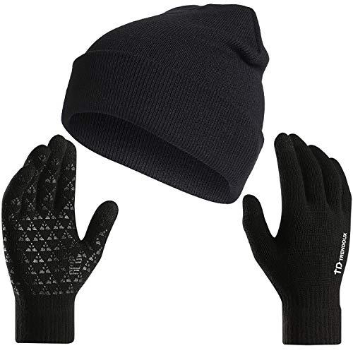TRENDOUX Slouchy Beanie, Winter Knit Hat Warm Lining Men Women - Acrylic Unisex Plain Skull Cap - Baggy Toboggan Beanies - RED