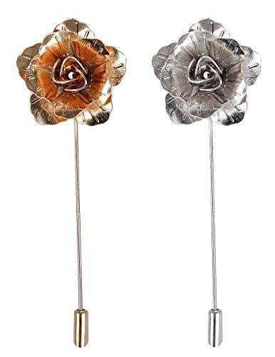 2 PCS Men's Rose Golden Flower Lapel Stick Brooch Pin for Sui,Gold/Sliver