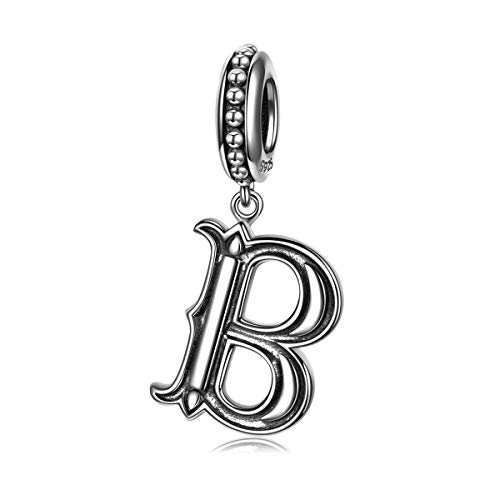 NINAQUEEN Charm fit pandora charms Letter B Alphabet Women's jewellery best gifts with Jewellery Box 925 Sterling Silver