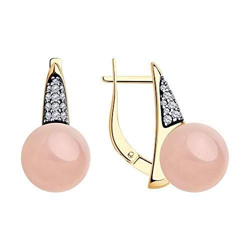Mirkada - Pendientes de plata para mujer, chapados en oro con cuarzo y circonita, color rosa
