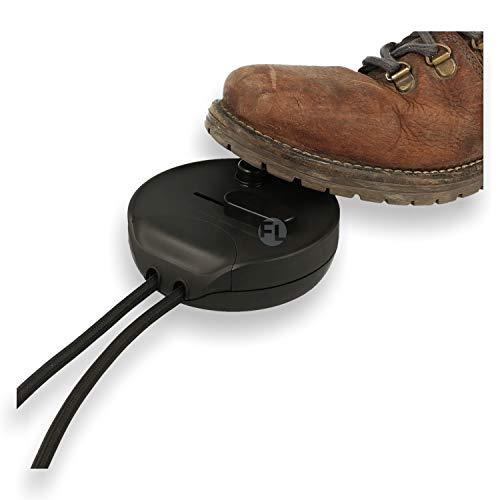 Geräuschloser Universal Fußdimmer mit Schalter für Stehlampen zum stufenlosen dimmen von Led, Halogen & Energiesparlampen mit Memory-Funktion in schwarz | Bodendimmer mit Schieberegler und Schalter