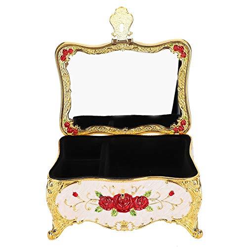 Caja de almacenamiento de joyas Exquisito relieve con espejo