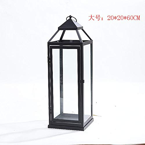 HNLHLY Kandelaar, glas, retro, lantaarn binnenplaats, zwart, grote kandelaar, van metaal, decoratie, windlicht, huwelijk, buiten 20x20x60cm