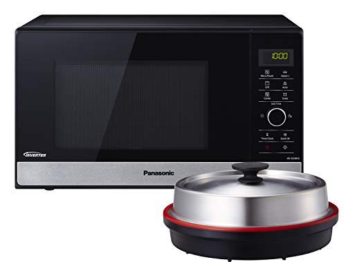 Panasonic NN-GD38HSGTG Mikrowelle mit Grill (1000 W, Dampfgarer, Steamer, Kombimikrowelle, Pizza-Pfanne, 23 Liter) edelstahl-schwarz