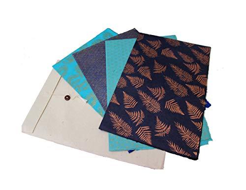 Maharanis Fairtrade Handgeschöpftes Papier Lokta Daphne Papier zum Verpacken, Basteln und mehr 4er Set aus nachhaltiger Handwerksfertigung blau türkis