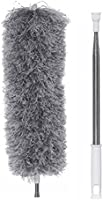 Extendable Feather Duster, Bendable Microfiber Duster with Super-Long Adjust Pole up to 100'' & Soft Silicone Cap, Hand...