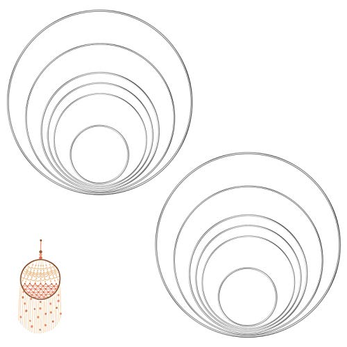 TAECOOOL 12 piezas anillos de metal de macramé para decorar coronas de boda, decoración de macramé para colgar en la pared, manualidades y atrapasueños (8 cm/12 cm/14 cm/16 cm/20 cm/25 cm)(plata)