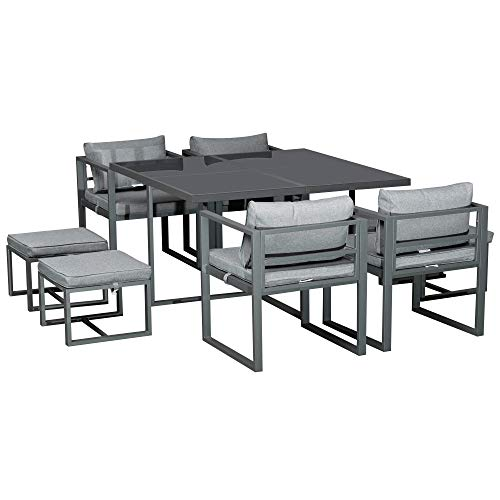 Outsunny Set con Tavolo 4 Sedie e 4 Sgabelli da Giardino, Salotto da Esterno in Alluminio, Grigio