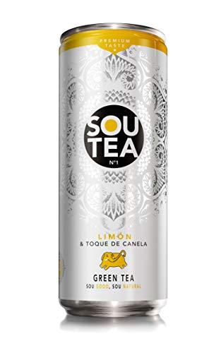 Sou Tea, Refresco de té verde natural con zumo sin colorantes ni conservantes y bajo en calorías. Sabor Limón & Canela - 33cl [Pack de 24]