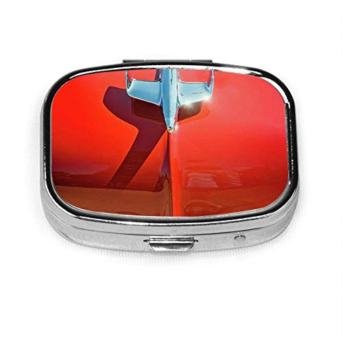 Pill Box- Pill Box with 2 Compartments, Square Pill Box, Can Be Used for Coin Purse, Travel Pill Box Hood-Ornament-On-A-Red-55-Chevy-