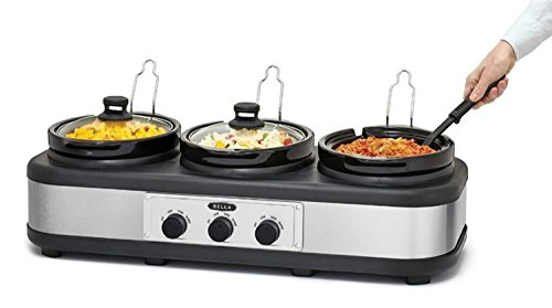 BELLA 14484 (3 x 2.5-Quart) Triple Slow Cooker with Lid Rests, Stoneware Pots, Serving Spoons and Bella Slow Cooker Recipe Book