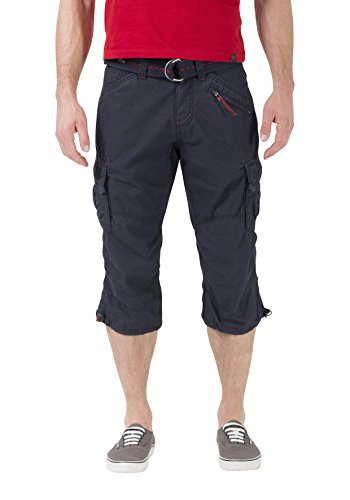 Timezone Herren Shorts Loose Miles 3/4 Cargo incl. Belt, Blau (Dark Night Blue 3115), W34