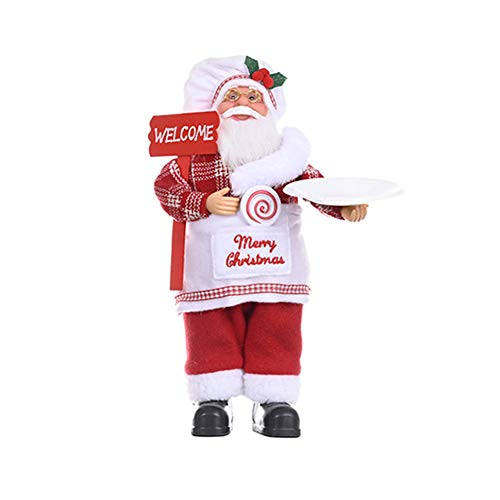 URMAGIC 12 Inch Standing Santa Claus Figurine Ornament with Gifts Box and Gifts Bag,Handmade Christmas Chef Santa Doll,Home Desktop Collectible Santa Dolls for Holiday Party Home Decoration