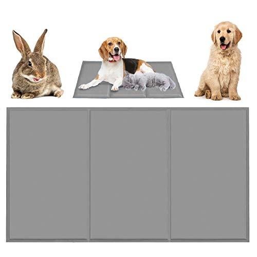 Qisiewell Kühlmatte Hunde Katzen Grau L 90 * 50cm Kuhlmatte Für Hunde und Katzen Kühlkissen Kühl Hundedecke Kaltgelpad für Katzen und Hunde Selbstkühlende Matte