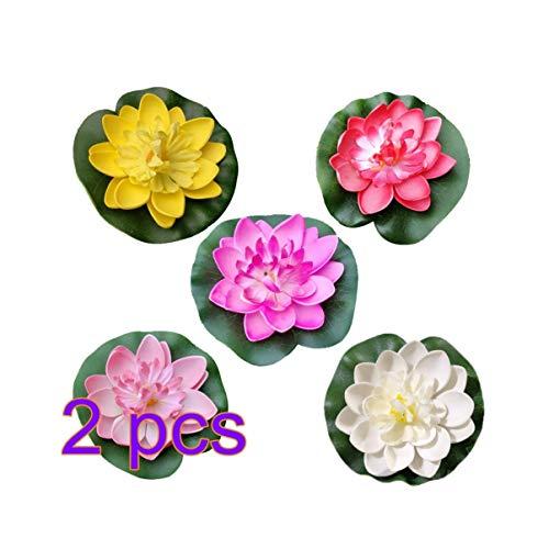 Amosfun kunstmatig drijvende Lotus bloemen Lelie zwembad Aquarium en bruiloft decoratie 10 Stks (wit + rood + geel + roze + licht roze) 10 CM