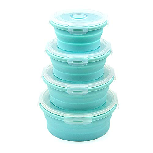 Collapsible Bowls GLE2016 Silicone Collapsible Food Storage Containers with Lids for Camping Round Silicone Lunch Containers Microwave Dishwasher and Freezer Safe 4 Blue