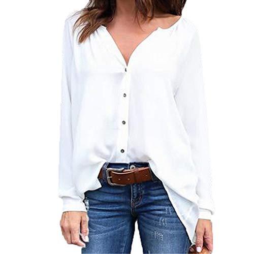 Camisa Camisa Plisada con Cuello en V Camisa de Gasa Suelta de Manga Larga