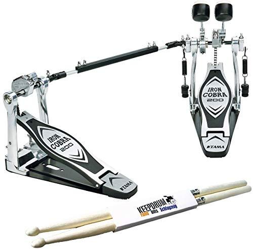 Tama HP200PTW Iron Cobra Doppelfußmaschine + keepdrum Drumsticks 1 Paar