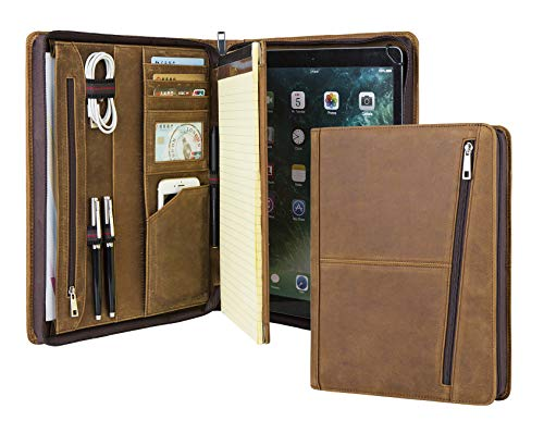 Professional Slim Padfolio Organizer Genuine Leather Compact Portfolio Case with Letter Size (A4) Paper Notepad, Business Carrying Case for iPad Pro 12.9(2018&2020), Gift for Men&Women