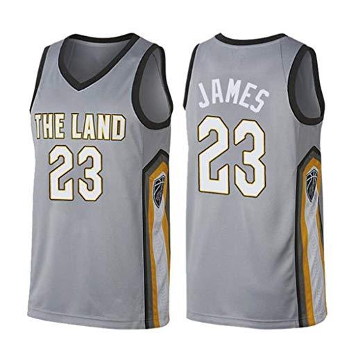FMSports Herren-Basketballtrikots - NBA Cleveland Cavaliers # 23 Lebron James Basketball Fan Uniform Kühle, Atmungsaktive Stoffweste T-Shirt-Trikot,M~170cm/65~75kg