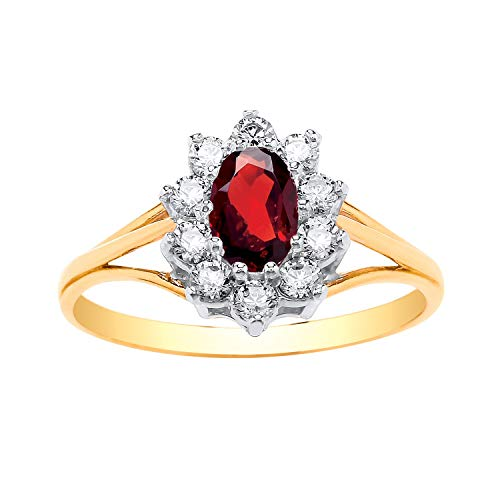 9ct Yellow Gold Garnet (Birthstone) & White Cubic Zirconia (CZ) Cluster Ring for Women - 9ct Yellow Gold - Size R