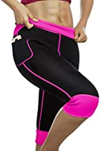 Womens Weight Loss Hot Neoprene Sauna Sweat Pants with Side Pocket Workout Thighs Slimming Capris Leggings Body Shaper (Black-Pink, 3XL)