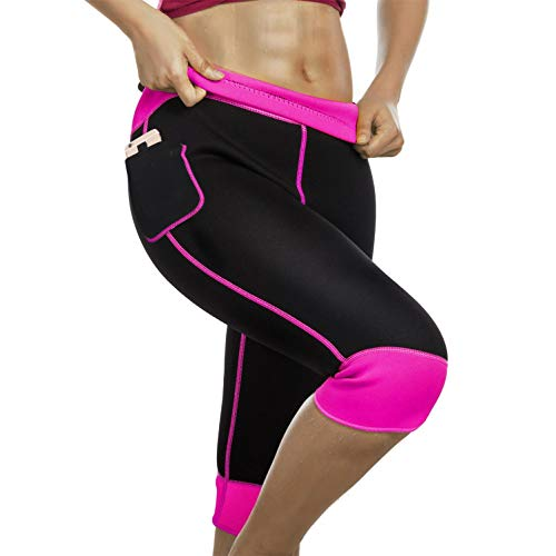 Womens Weight Loss Hot Neoprene Sauna Sweat Pants with Side Pocket Workout Thighs Slimming Capris Leggings Body Shaper (Black-Pink, S)