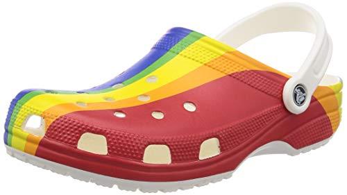 Crocs Men's and Women's Classic Graphic Clog, Rainbow, 7 Women / 5 Men