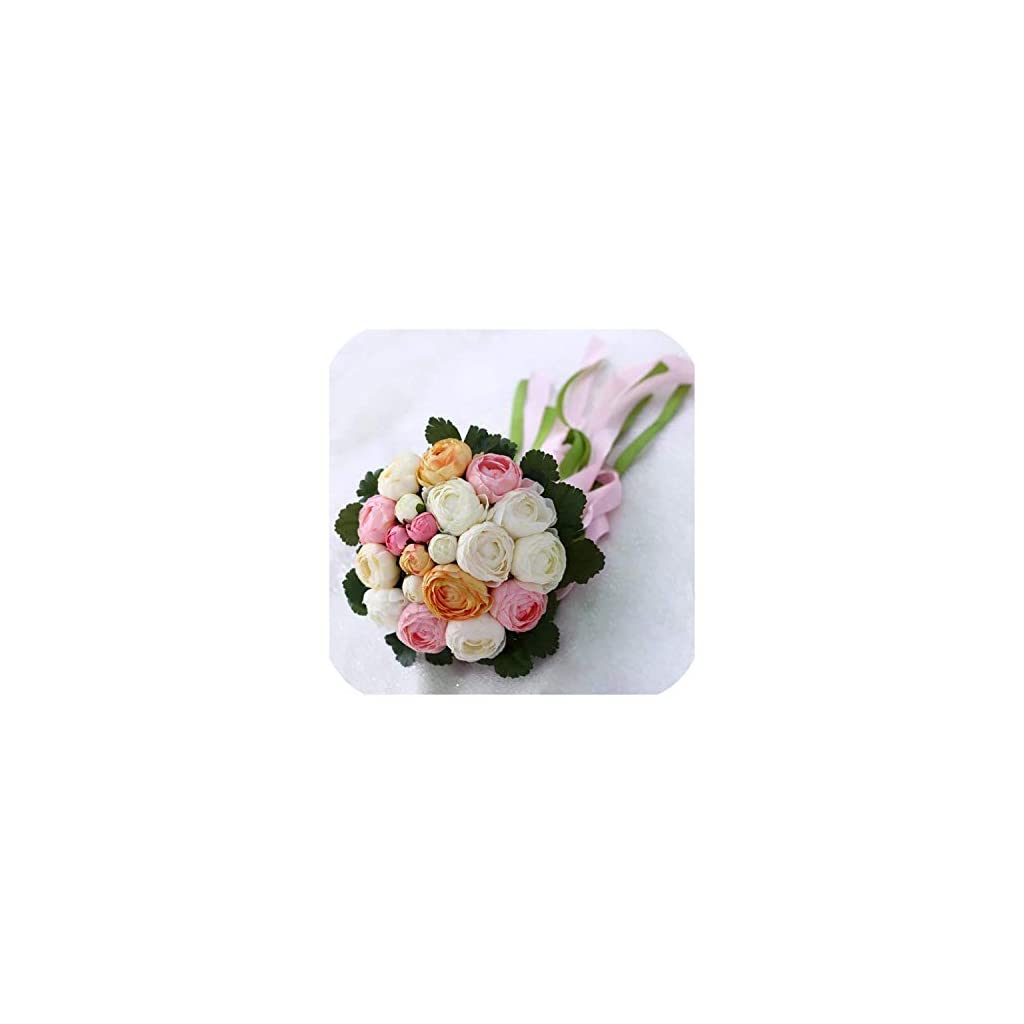 Joyfeel-light Romantic Wedding Bouquet with Ribbon Artificial Peony Pink Green Women Bridal Accessories Bridals Flowers