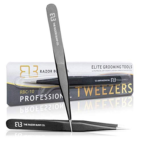 Tweezers For Ingrown Hair By The Razor Bump Co. | Sharp, Stainless Steel, Surgical | Professional Tweezers For Women and Men | Precision Splinter Remover | Best Facial Hair and Eyebrow Trimmer | Black