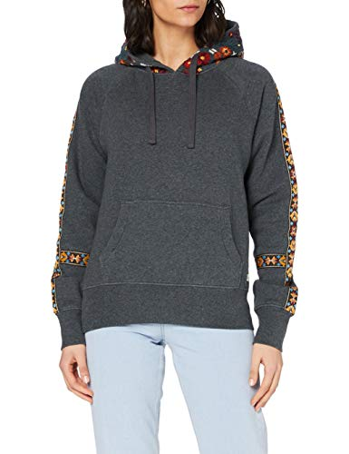 Superdry Womens Crafted Folk Hood Hooded Sweatshirt, Nordic Charcoal Marl, 8